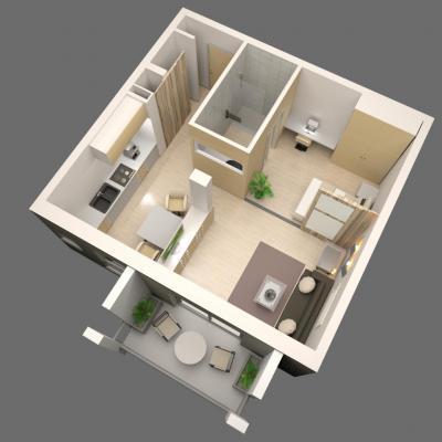 Les Jardins du Comte Vue 3D d'un logement F2