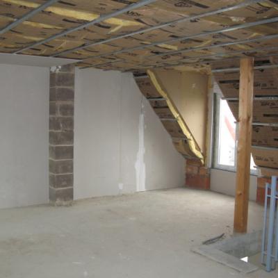 Travaux plâtre et isolation étage