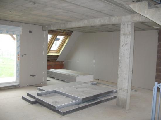 Travaux plâtre isolation salon